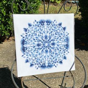 "2/$15 Canvas Print Modern Art 8""x8"" Blue White"